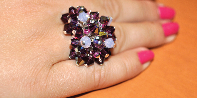 Purple Crystals Ring